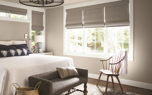pretty bedroom painted taupe white